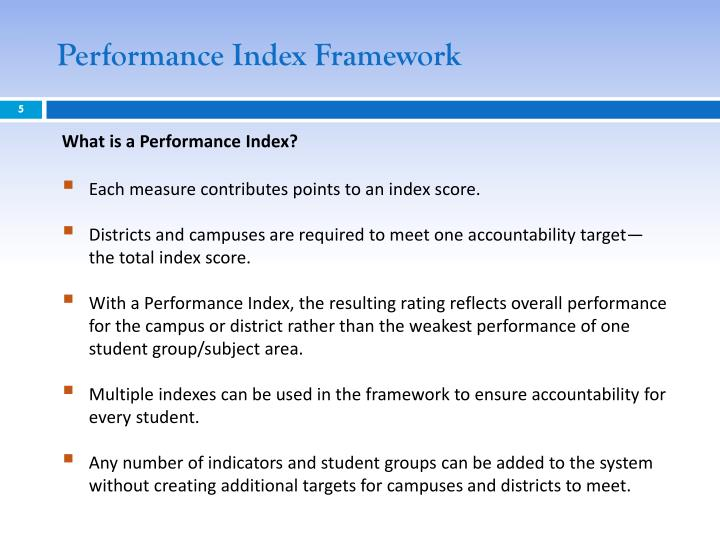 Performance Index Framework