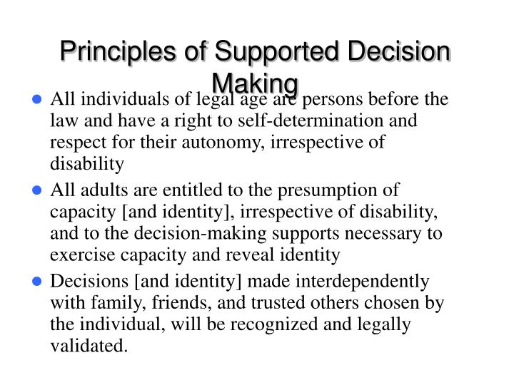 Principles of Supported Decision Making