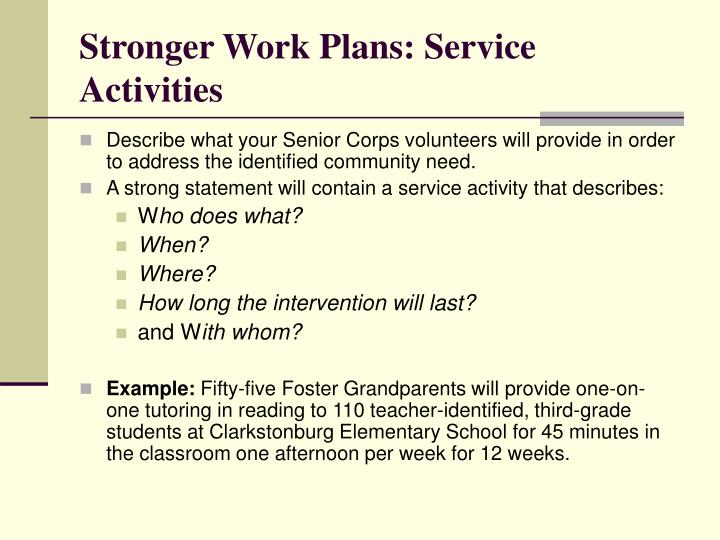 Stronger Work Plans: Service Activities