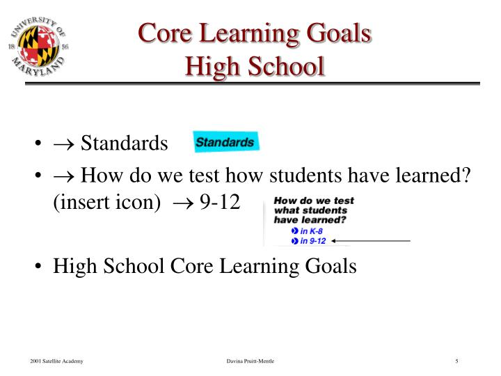 Core Learning Goals
