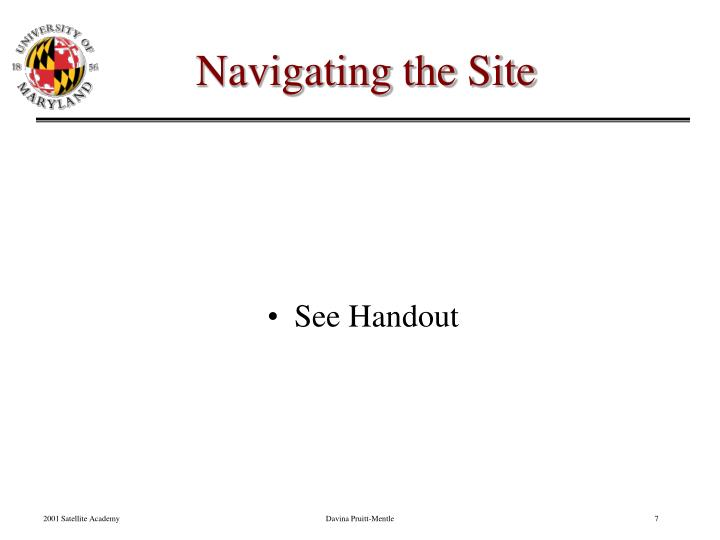 Navigating the Site