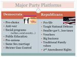 major parties platforms essay The major political parties are organized at the local (usually county), state, and national levels party leaders and activists are involved in choosing people to run for office, managing and financing campaigns, and developing positions and policies that appeal to party constituents the national.