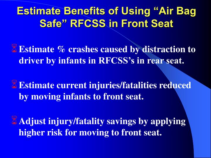 """Estimate Benefits of Using """"Air Bag Safe"""" RFCSS in Front Seat"""