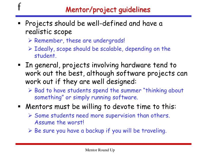 Mentor/project guidelines