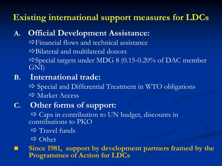 Existing international support measures for ldcs