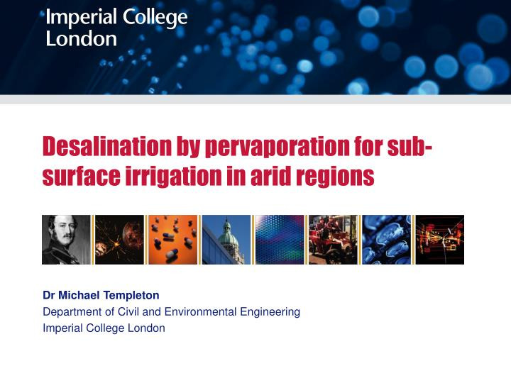 desalination by pervaporation for sub surface irrigation in arid regions n.