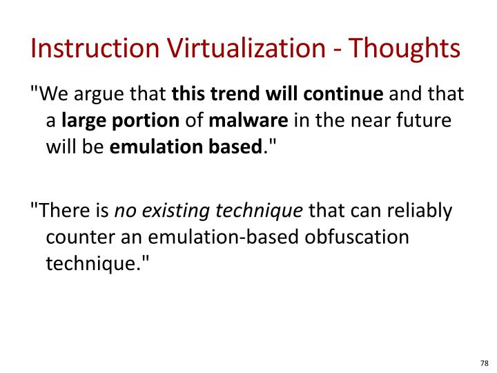 Instruction Virtualization - Thoughts
