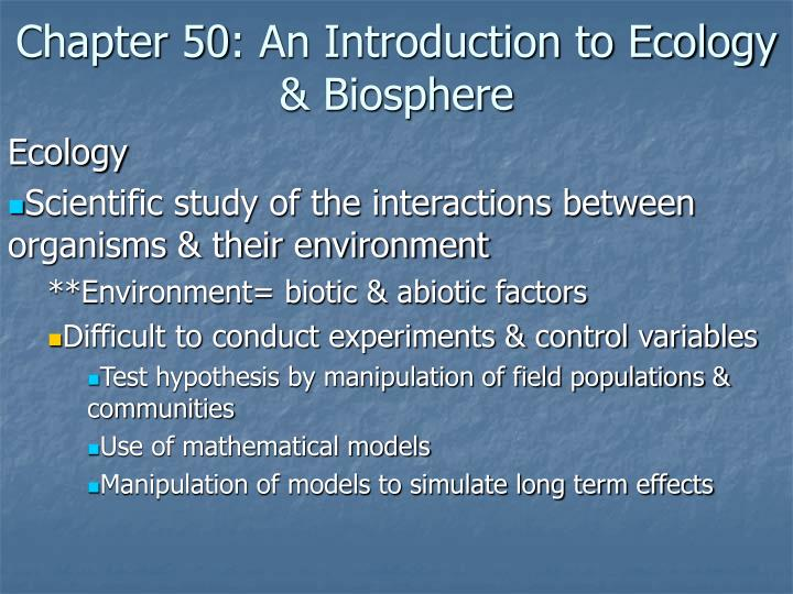 chapter 50 an introduction to ecology biosphere n.