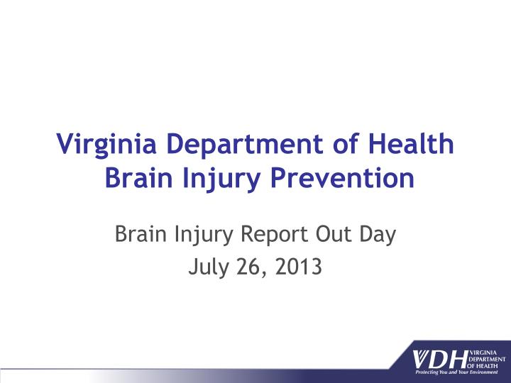 virginia department of health brain injury prevention n.