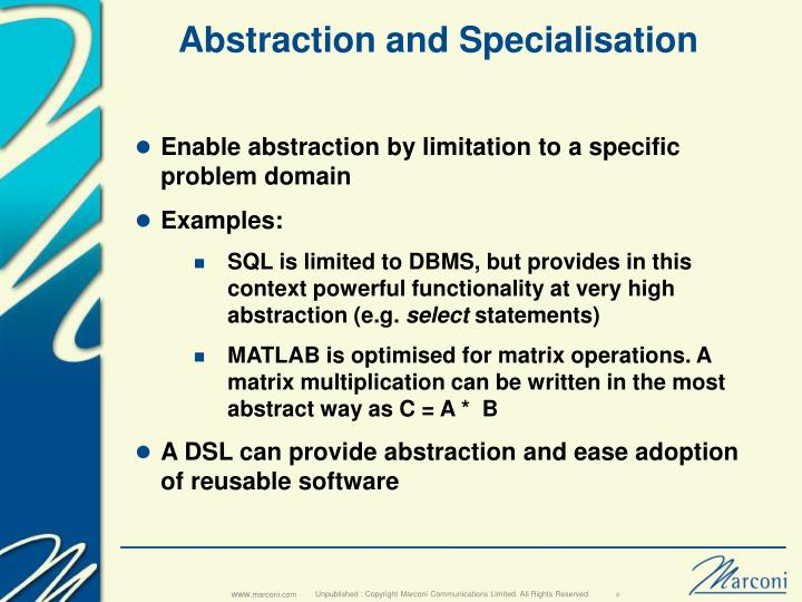 Abstraction and Specialisation