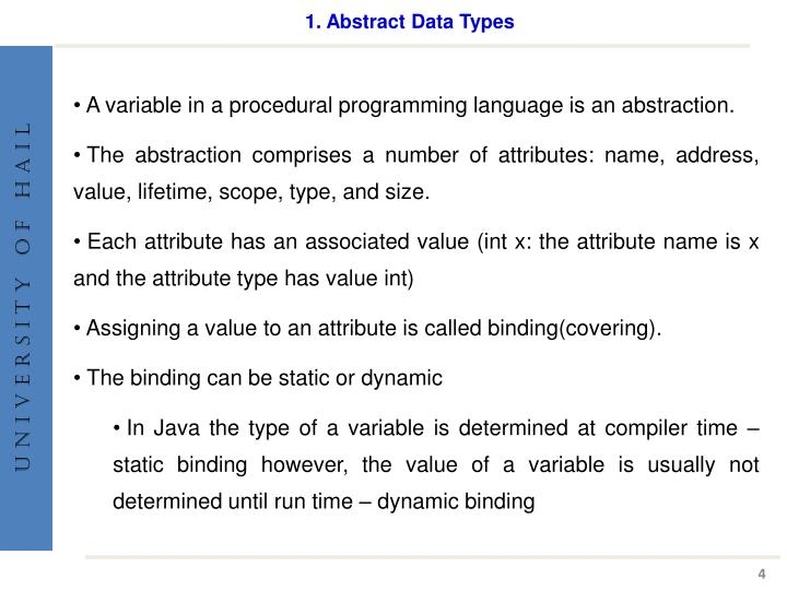 1. Abstract Data Types