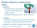 nicotine delivery in naive e cig users