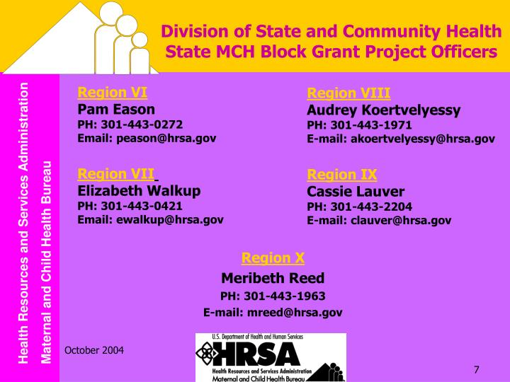 Division of State and Community Health State MCH Block Grant Project Officers