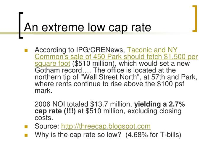 An extreme low cap rate