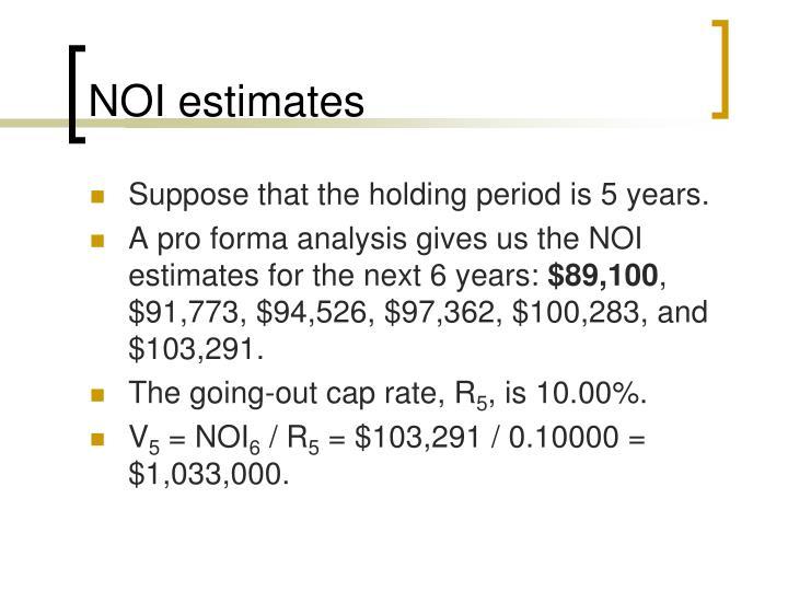 NOI estimates