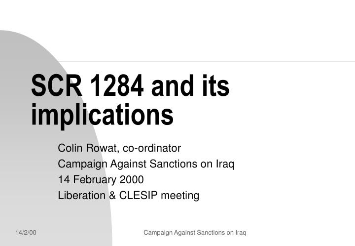 scr 1284 and its implications