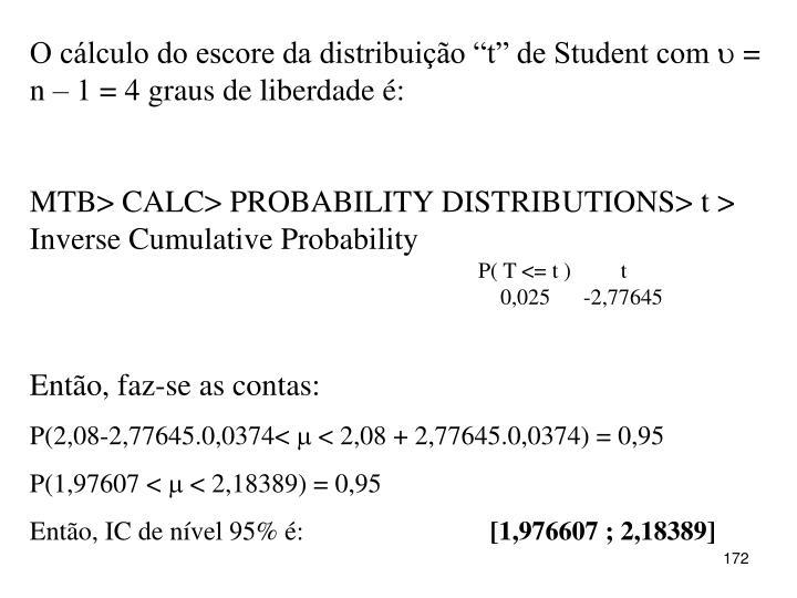 """O cálculo do escore da distribuição """"t"""" de Student com"""
