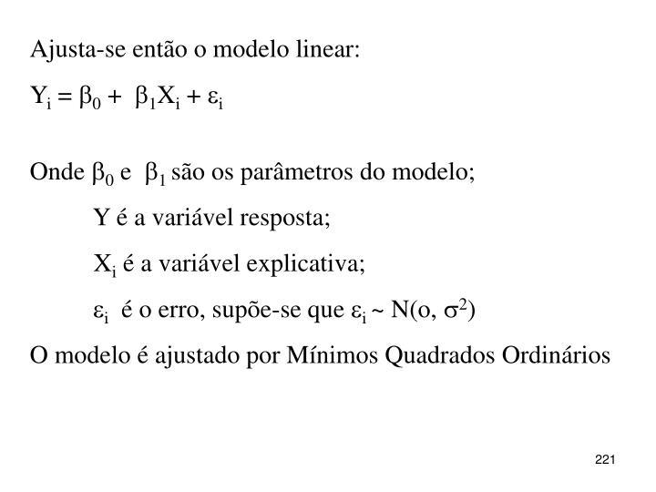 Ajusta-se então o modelo linear: