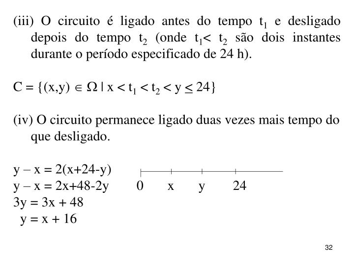 (iii) O circuito é ligado antes do tempo t
