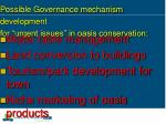 possible governance mechanism development for urgent issues in oasis conservation