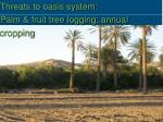 threats to oasis system palm fruit tree logging annual cropping