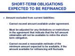 short term obligations expected to be refinanced2