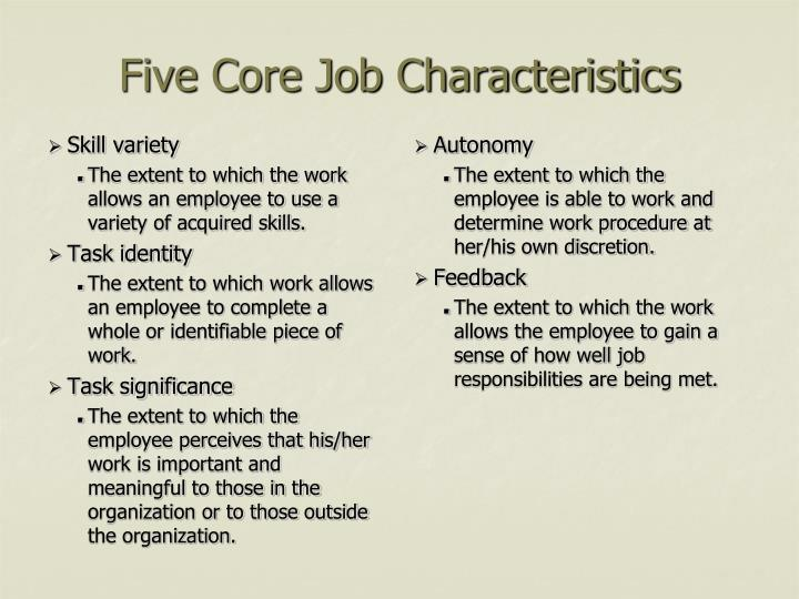five core job characteristics
