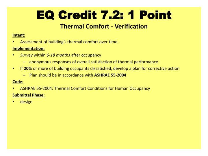 EQ Credit 7.2: 1 Point