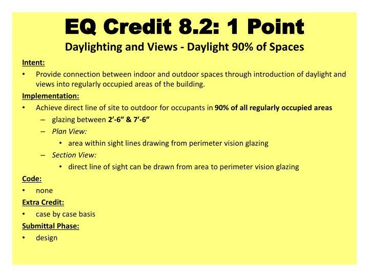 EQ Credit 8.2: 1 Point