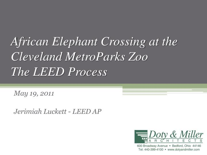 african elephant crossing at the cleveland metroparks zoo the leed process n.