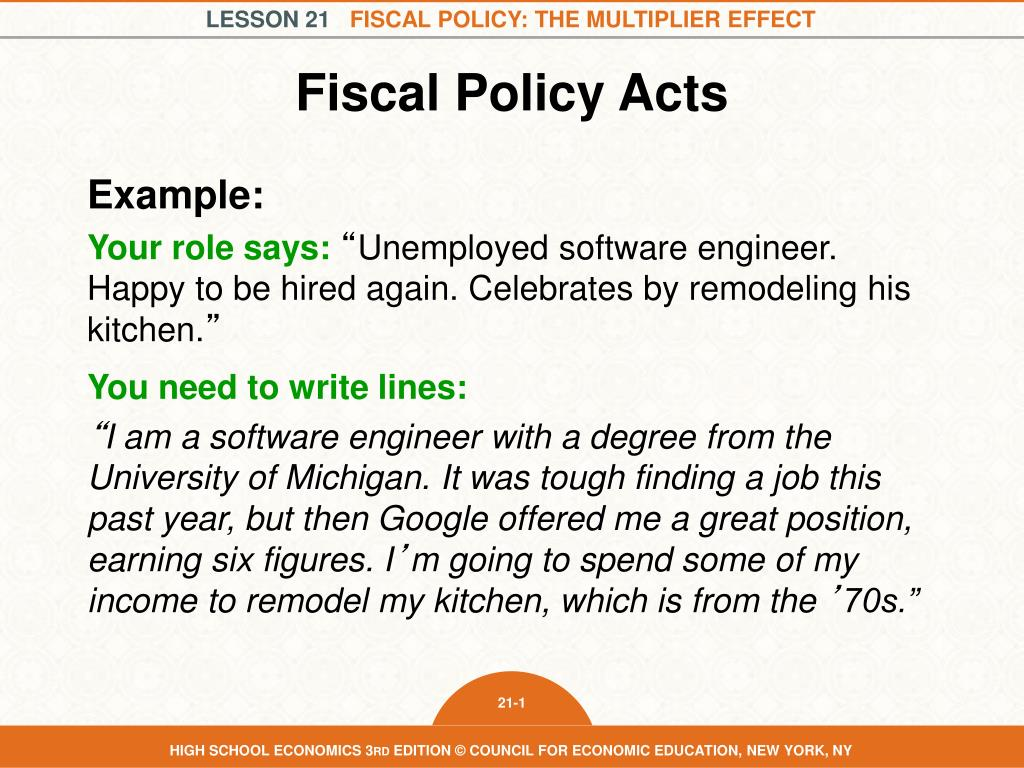 which is an example of fiscal policy