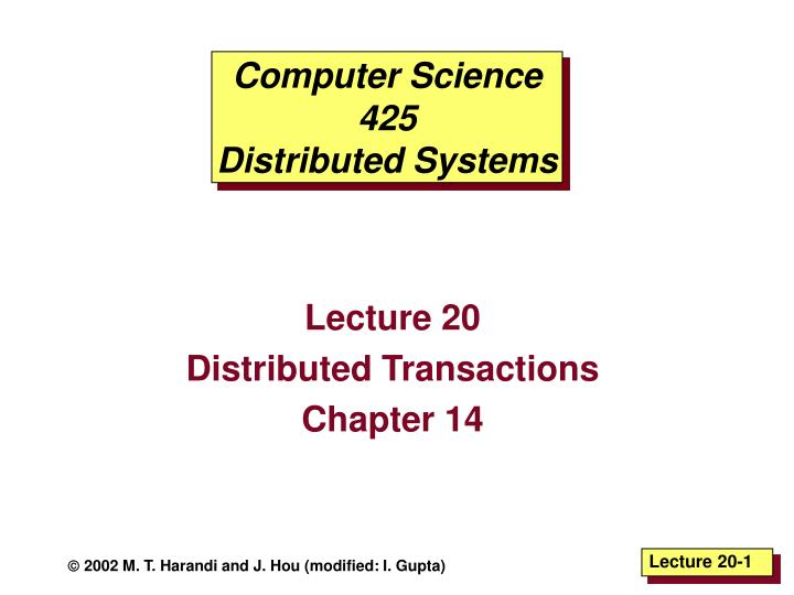 computer science 425 distributed systems n.