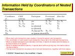 information held by coordinators of nested transactions