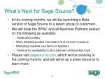what s next for sage source