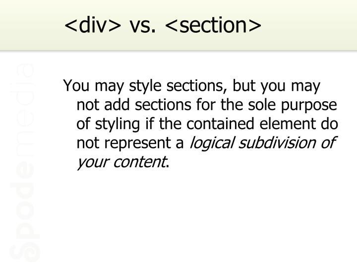 <div> vs. <section>