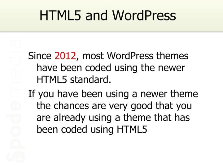 Html5 and wordpress