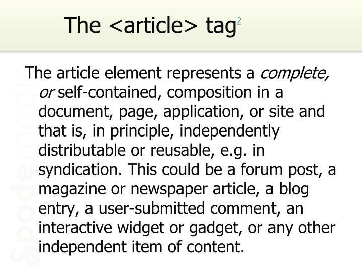 The <article> tag