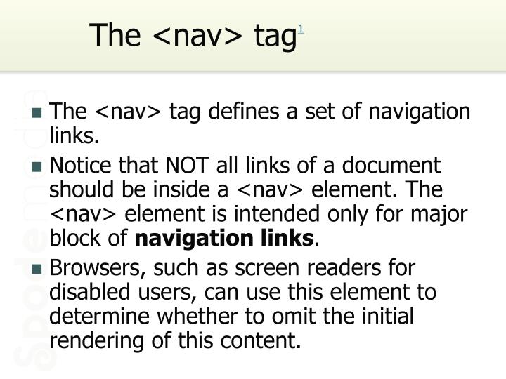 The <nav> tag