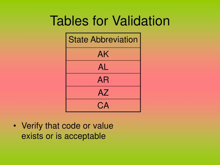 Tables for validation