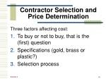 contractor selection and price determination