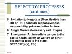selection processes continued1