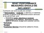 what performance measures should be included