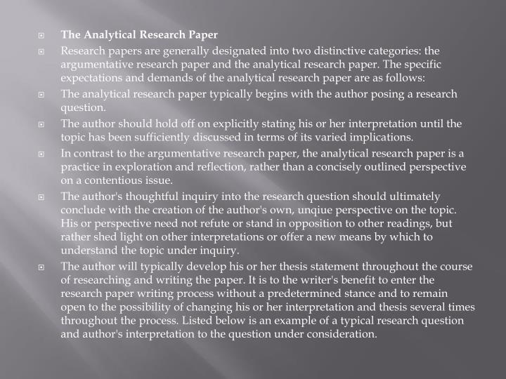 The Analytical Research Paper