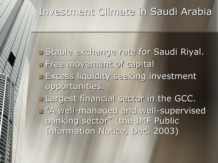 Investment Climate in Saudi Arabia