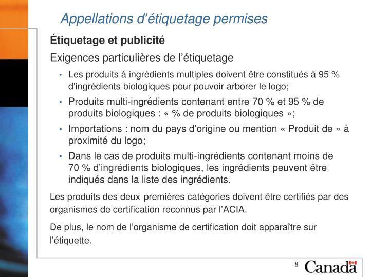 Appellations d'étiquetage permises