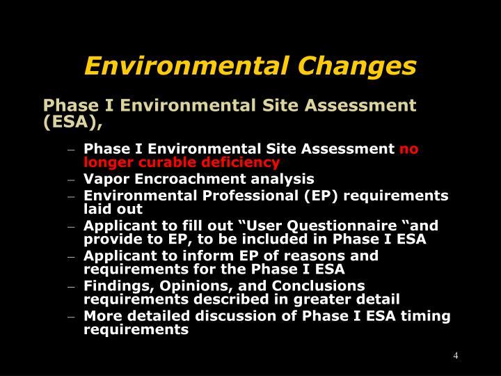 Environmental Changes