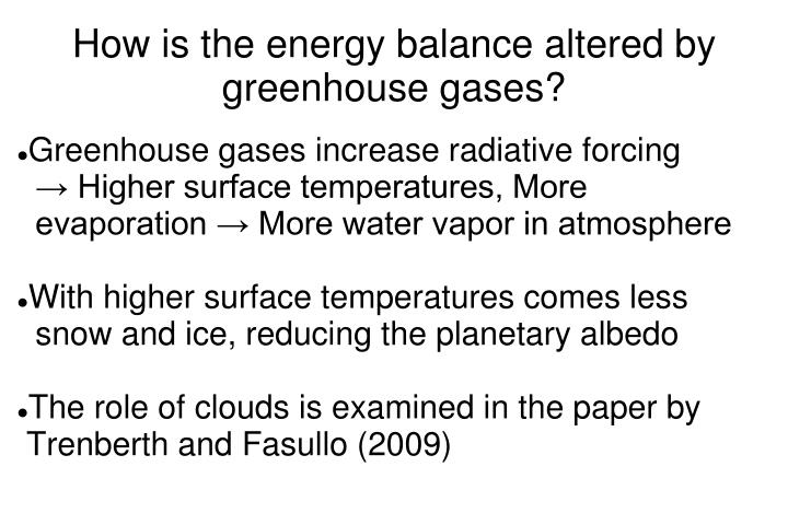 How is the energy balance altered by greenhouse gases