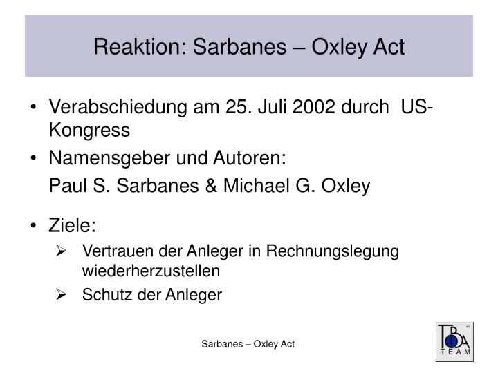 effects of sarbanes - oxley act essay Effects of sarbanes – oxley act essay sample with the enactment of sarbanes – oxley act in 2002, corporations including foreign corporations and the external auditors have mostly been affected and burdened with newly found responsibilities under the act.