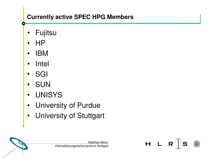 Currently active SPEC HPG Members