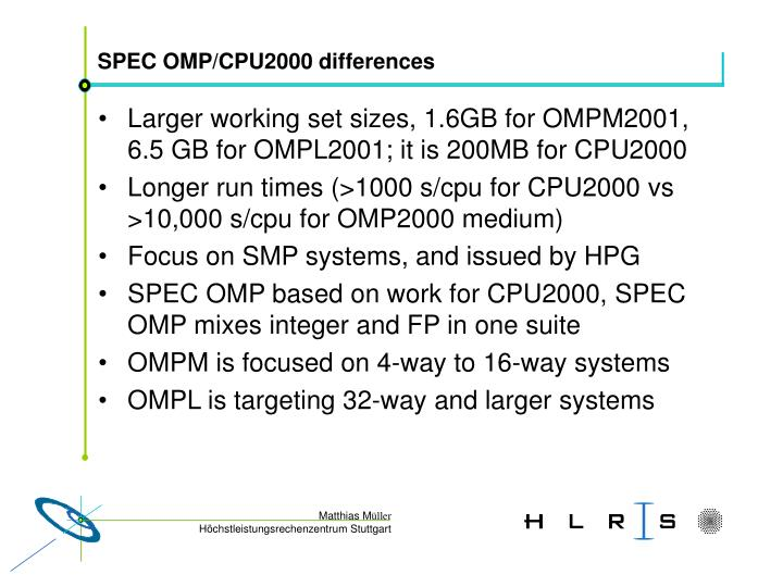 SPEC OMP/CPU2000 differences